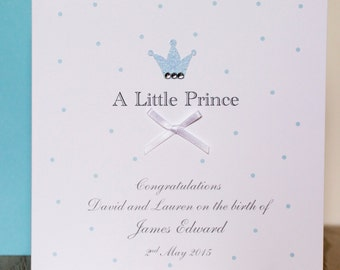 Personalised Handmade Little Prince Baby Boy Card
