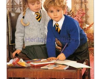 childrens school cardigan and jumper dk knitting pattern 99p pdf