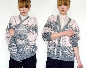 Pink and grey tartan cardigan - 90's vintage.