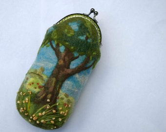 Eyesglass Case Needle Felted Wool Glasses Case Embroidery Eyesglass Cases Embroidery Flowers and Trees