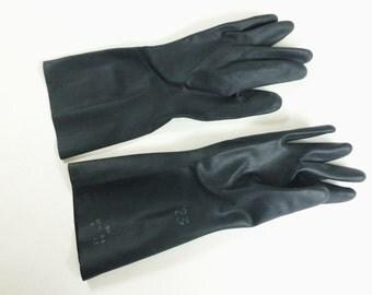 vintage black rubber gloves soviet russian black gloves fetish gloves
