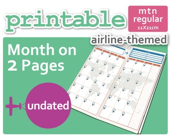 Flight-Themed Mo2P Month-On-2-Pages for Midori TN Regular Size