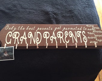 Grandparents wooden wall hanging  personalized with grandchildrens names and area for pictures