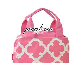 Monogrammed Geometric Print Lunch Bag