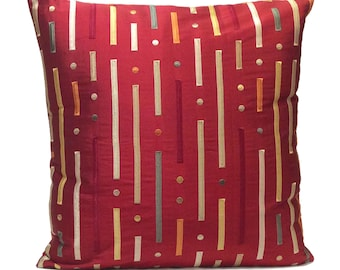 Red Pillow, Throw Pillow Cover, Decorative Pillow Cover, Cushion Cover, Pillowcase, Accent Pillow, Toss Pillow, Silk, Multicolor Embroidery
