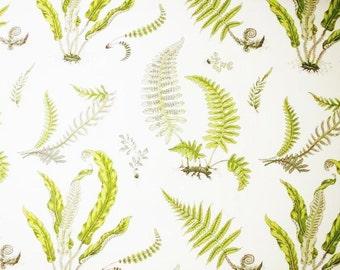 LEE JOFA GP J Baker Botanical Strolling Ferns Fabric 10 Yards Lime Green Grey White
