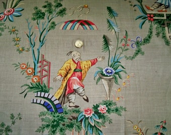 BRUNSCHWIG & FILS CHINOISERIE Asian Magi Toile Glazed Linen Fabric 10 Yards Multi