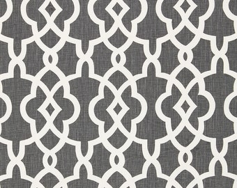 SCHUMACHER CHINOISERIE FRETWORKS Trellis Linen Fabric 10 yards Charcoal