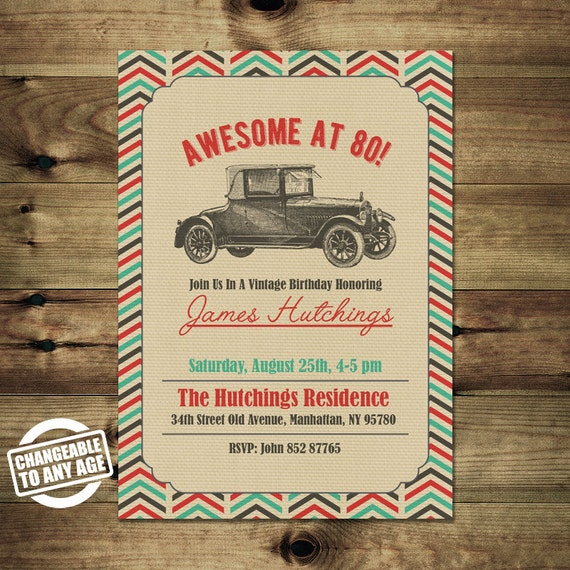 Vintage Car 80th Birthday Invitation Adult Birthday