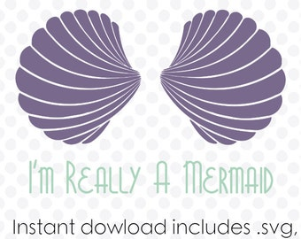 Mermaid Sea Shell Bra instant download (zipped .eps .dxf .svg and .studio files) vector digital cutting files