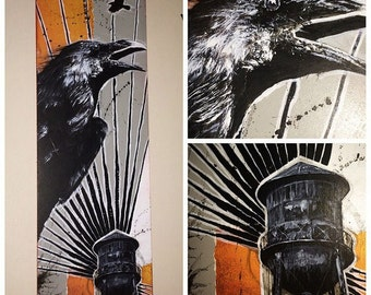 Crows and Water Towers Original by Alex Dakos