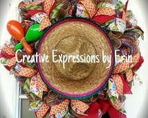 Ready to ship, Cinco De Mayo wreath, fiesta wreath, festive wreath, bbq wreath, party wreath, cinco de mayo decor, fiesta decor, red burlap