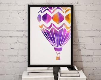 Hot Air Balloon Watercolor Print - Digital Download Print - Watercolor Art - Wall Decor Posters