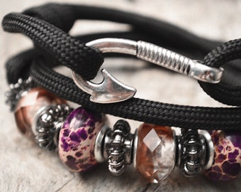 Black & Purple Fish Hook Wrap Bracelet