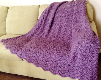 Crochet Blanket/Afghan/Throw, Adult Size Fluffy, Rippled, and Soft Bedding, Twin, Double, Queen, King