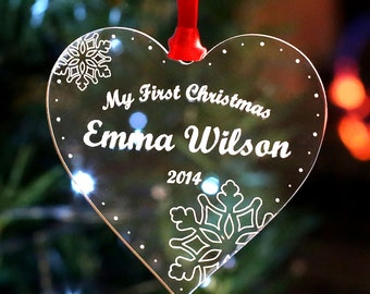 Personalised Christmas Tree Decoration My First Christmas Heart Bauble Gift