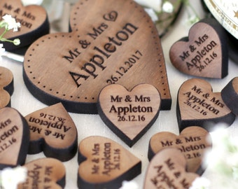 Personalised Wooden Hearts Rustic Wedding Favors Rustic Love Hearts Wedding Table Decorations Favours Walnut 2cm
