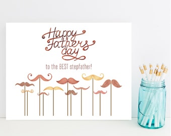 StepFather's Day Card - Fast Step Father's Day Card - Moustache Card - Stepdad card