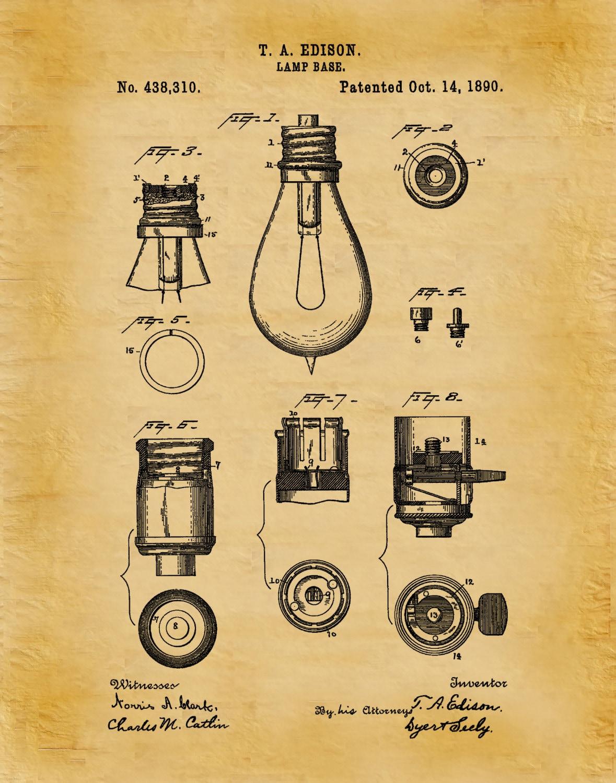 Free Printable Blueprints Patent 1890 Edison Light Bulb Base Art Print Poster