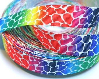 7/8 inch NEW Colorful Leopard on White Cheetah Animal Print Printed Grosgrain Ribbon for Hair Bow