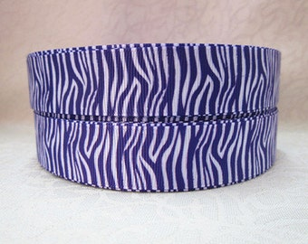 7/8 inch ZEBRA - White and Purple - Animal Print - R2ra6- Printed Grosgrain Ribbon for Hair Bow