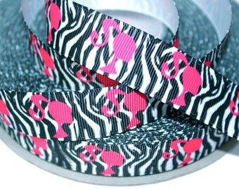 7/8 inch Hot Pink CUTE DOLL Silhouette on Black Zebra - Printed Grosgrain Ribbon for Hairbow