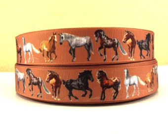 7/8 inch I LOVE HORSES - Horse - Brown Background Printed Grosgrain Ribbon for Hair Bow
