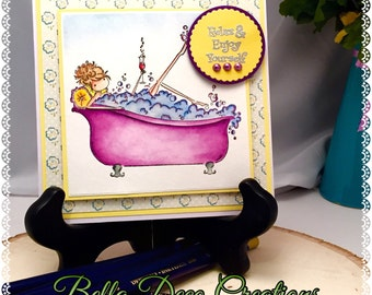 Handmade Cards, hand made girl in tub greeting card, Handmade cards,Birthday Cards,Hand made greeting Card, Greeting Card