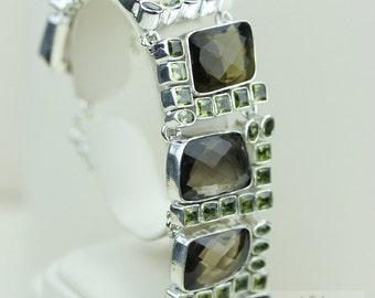 Genuine SMOKEY Smoky Topaz PERIDOT 925 Solid Sterling Silver Bracelet & Free Worldwide Shipping B818