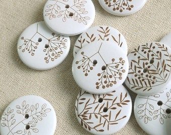 4 piece Round Wooden Buttons,Floral pattern wood button,width 30mm (114-4)