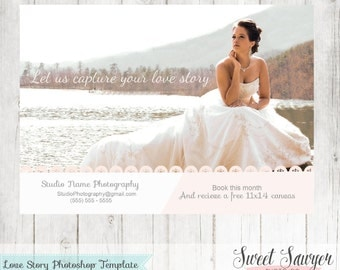 INSTANT DOWNLOAD - Wedding Photography Marketing Board, Photoshop Template, 5x7 template