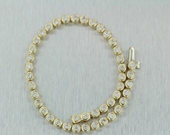 1.47 Carat F VS2/SI1 Diamond Tennis Bracelet in 14K Yellow Gold Bezel Diamond Bracelet