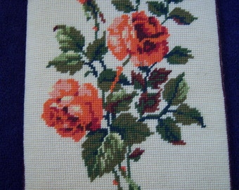 Vintage Hand Stitched French Needlepoint Roses.  Steiner Freres, Royal Paris, Made in France.  French Country.  Cottage Chic.
