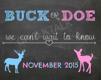 Buck or Doe Gender Reveal Chalkboard - Pregnancy Announcement - Printable - Photo Prop