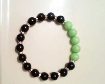 It Works Bracelet, It Works Jewelry Beaded Bracelet, It Works Global, Green and Black Jewelry, Mint Green and Black Pearl with Bling Spacers