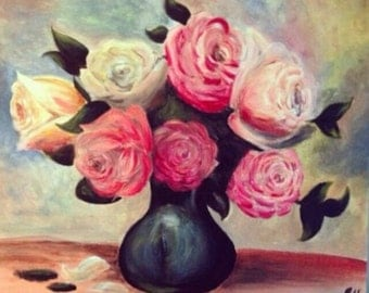Vase of roses, acrylic painting on canvas 40x50cm