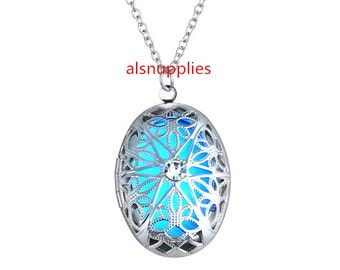 Glowing Necklace Making Kits - Oval Silver Color Glowing Necklace, Oval Glowing Necklace, Glowing Pendant and Chain, Gifts for Lovers