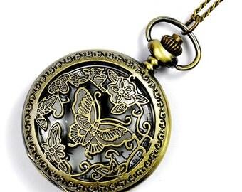 Steampunk Pocket Watch Necklace Kits - Antique Bronze Butterfly Watch Locket Pendant + Rolo Chain (40cm)