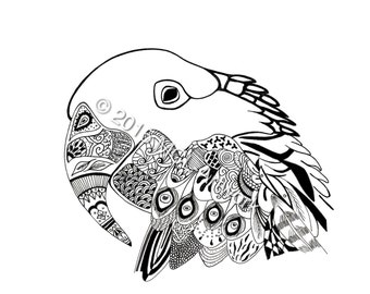 Tribal Parrot Digital Print