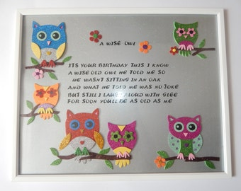 HAPPY BIRTHDAY OWL (poem) 20 x 16