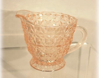 Holiday Creamer, Jeannette Glass, Buttons Bows, Pink Creamer