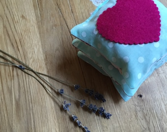 Luscious lavender sachets in mint polkadot and floral cotton with raspberry pink felt heart (set of 3)