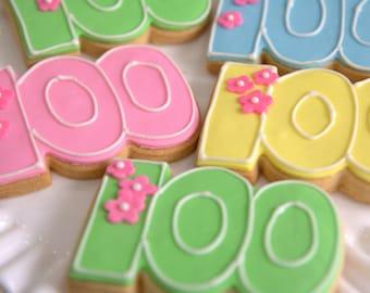 "1 Dozen Decoartive 4.5"" Shortbread '100' Cookies"