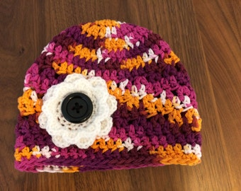 Toddler Girl Beanie Hat with Flower - Dark Plum