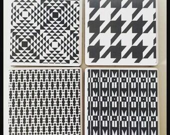 Set of 4 monochrome print ceramic coasters