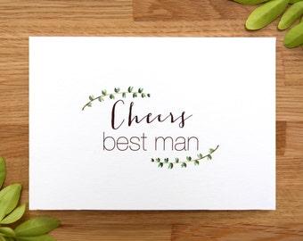 Cheers Best Man - Thank You Wedding Card - Simple Foliage - Leafy Minimalist Design