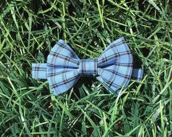 Custom-made bow ties for babies, toddler, children, & adults, blue plaid bow tie, wedding bow tie, party tie