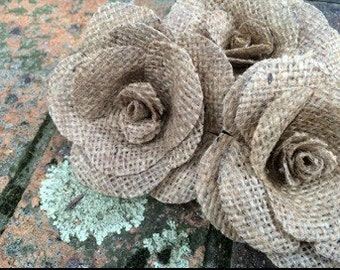 Rustic hessian Cake embellishments ...handmade roses set of TWO ! Skewer or no skewer, please let me know on payment :))