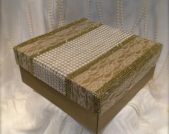 gold gift box/wedding box/card holder