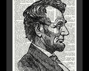 Abraham Lincoln 16th U.S. President Vintage Dictionary Art Print---Fits 8x10 Mat or Frame